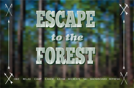 preserve: Escape to the Forest Poster, with icon embellishments of nordic sticks, arrows and pickaxes on a longleaf pine forest background. Illustration