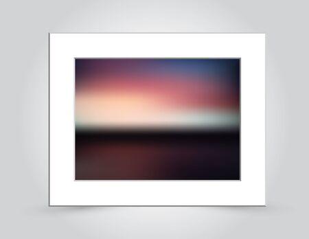 추상적 인 배경에서 아름 다운 일몰 색상, 경 사진 된 흰색 매트 프레임에서 덩어리 죠.