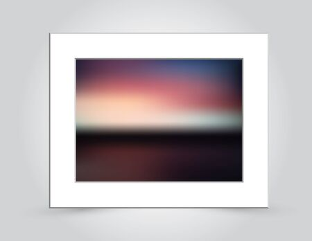 Beautiful sunset colors in an abstract background blur, in a beveled white mat frame. Иллюстрация