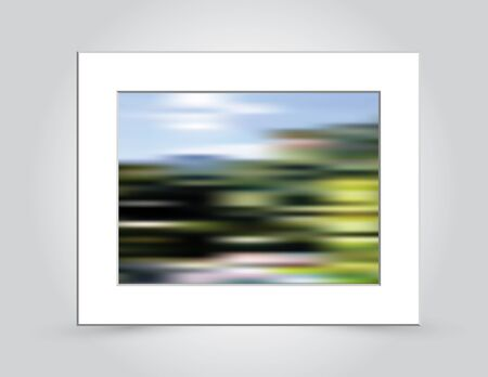 beveled: Beautiful mountain colors in an abstract background blur, in a beveled white mat frame. Illustration