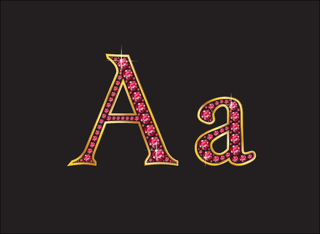 jewels: Aa in stunning ruby precious round jewels set into a 2-level gold gradient channel setting.