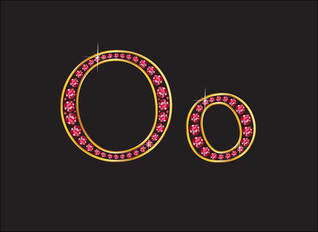 costly: Oo in stunning ruby precious round jewels set into a 2-level gold gradient channel setting, isolated on black.