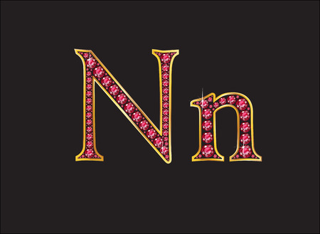 costly: Nn in stunning ruby precious round jewels set into a 2-level gold gradient channel setting, isolated on black.