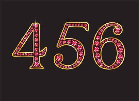costly: 456 in stunning ruby precious round jewels set into a 2-level gold gradient channel setting, isolated on black. Illustration