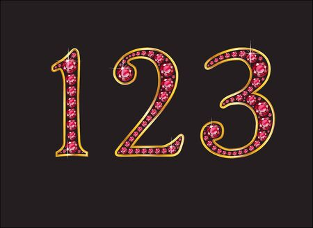123 in stunning ruby precious round jewels set into a 2-level gold gradient channel setting, isolated on black.