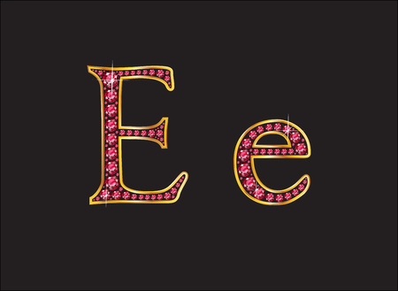 channel: Ee in stunning ruby precious round jewels set into a 2-level gold gradient channel setting. Illustration