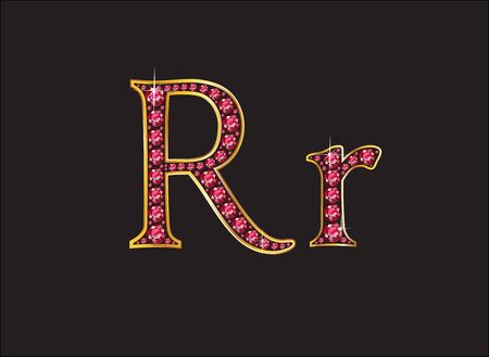costly: Rr in stunning ruby precious round jewels set into a 2-level gold gradient channel setting, isolated on black.