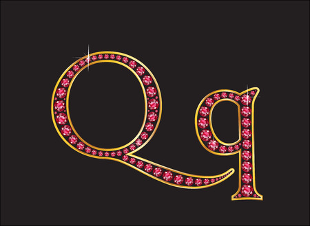Qq in stunning ruby precious round jewels set into a 2-level gold gradient channel setting, isolated on black. Illustration