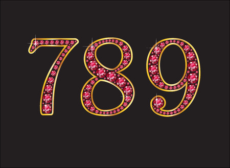 7 8: 7, 8 and 9 in stunning ruby precious round jewels set into a 2-level gold gradient channel setting, isolated on black. Illustration