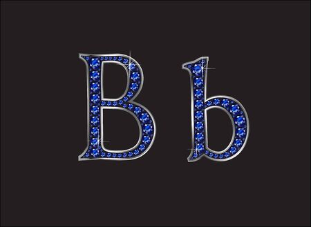 bb: Bb in stunning blue sapphire precious round jewels set into a 2-level silver gradient channel setting, isolated on black. Illustration
