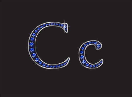 channels: Cc Sapphire Jeweled Font with Silver Channels Illustration