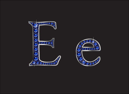 english letters: Ee in stunning blue sapphire precious round jewels set into a 2-level silver gradient channel setting, isolated on black.
