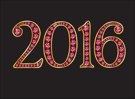 2016 superbes rubis précieux joyaux ronds fixés dans un réglage de canal de gradient d'or 2 niveaux, isolé sur noir. Vecteurs