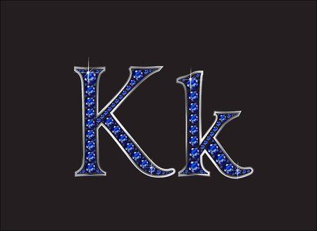 zafiro: Kk en impresionantes joyas preciosas redondas azul zafiro fijó en un ajuste del canal de plata de la pendiente de 2 niveles, aislado en negro. Vectores