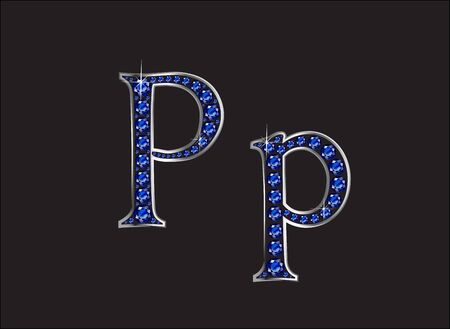 channel: Pp in stunning blue sapphire precious round jewels set into a 2-level silver gradient channel setting, isolated on black.