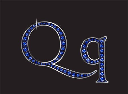 Qq in stunning blue sapphire precious round jewels set into a 2-level silver gradient channel setting, isolated on black.