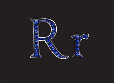 Rr in stunning blue sapphire precious round jewels set into a 2-level silver gradient channel setting, isolated on black.
