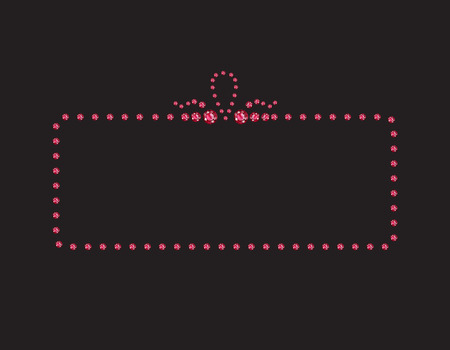 Elegant deco style frame with rounded corners, made from rubies, isolated on black background. Illustration