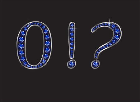 exclamation point: Zero, Question Mark et Point d'exclamation dans de superbes rubis ronds bijoux précieux fixés dans un réglage de canal de gradient d'or 2 niveaux, isolé sur noir.