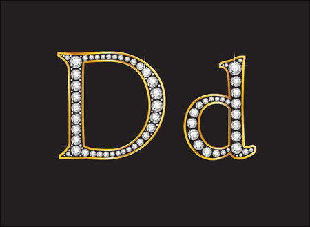 alphabet letter: Dd in stunning diamond precious round jewels set into a 2-level gold gradient channel setting, isolated on black.