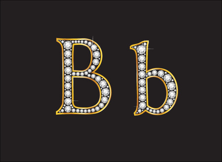 bb: Bb in stunning diamond precious round jewels set into a 2-level gold gradient channel setting, isolated on black.
