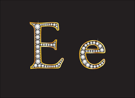 ee: Ee in stunning diamond precious round jewels set into a 2-level gold gradient channel setting, isolated on black.
