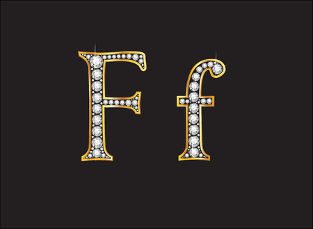 diamond letters: Ff in stunning diamond precious round jewels set into a 2-level gold gradient channel setting, isolated on black.