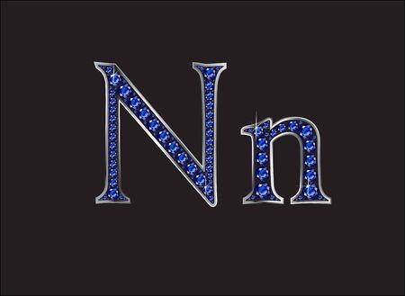 zafiro: Nn en impresionantes joyas preciosas redondas azul zafiro fijó en un ajuste del canal de plata de la pendiente de 2 niveles, aislado en negro.