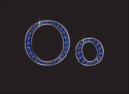 channel: Oo in stunning blue sapphire precious round jewels set into a 2-level silver gradient channel setting, isolated on black. Illustration