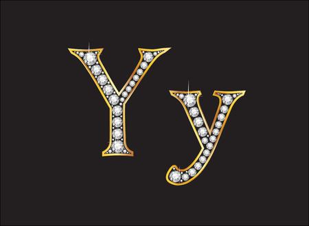 channel: Yy in stunning diamond precious round jewels set into a 2-level gold gradient channel setting, isolated on black.