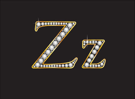 costly: Zz in stunning diamond precious round jewels set into a 2-level gold gradient channel setting, isolated on black. Illustration