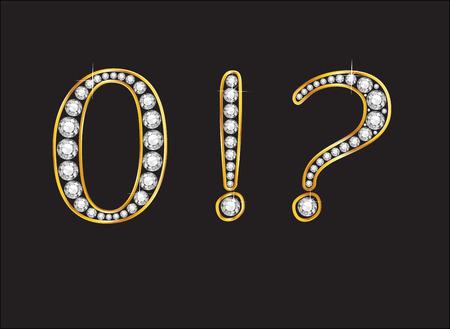 point exclamation: Zero, Point d'exclamation et d'interrogation dans de superbes diamants pr�cieux joyaux ronds fix�s dans un r�glage de canal de gradient d'or 2 niveaux, isol� sur noir.