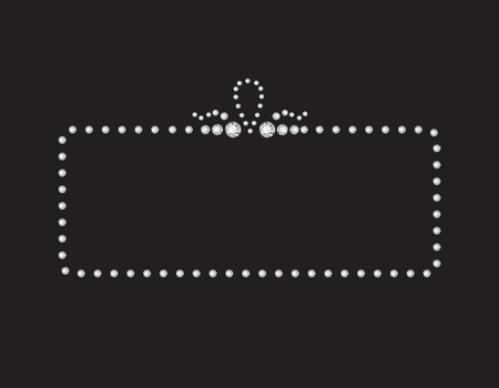 diamonds on black: Elegant deco style frame with rounded corners, made from diamonds, isolated on black background.
