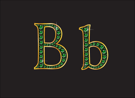 bb: Bb in stunning emerald precious round jewels set into a 2-level gold gradient channel setting, isolated on black.