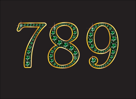 7 8: 7, 8 and 9 in stunning emerald precious round jewels set into a 2-level gold gradient channel setting, isolated on black. Illustration