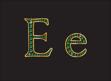 ee: Ee in stunning emerald precious round jewels set into a 2-level gold gradient channel setting, isolated on black.