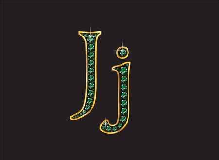 channel: Jj in stunning emerald precious round jewels set into a 2-level gold gradient channel setting, isolated on black.