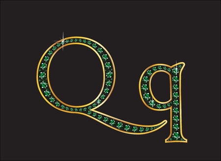 Qq in stunning emerald precious round jewels set into a 2-level gold gradient channel setting, isolated on black.