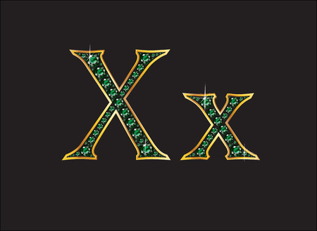 xx: Xx in stunning emerald precious round jewels set into a 2-level gold gradient channel setting, isolated on black. Illustration