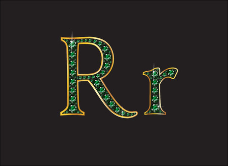 Rr in stunning emerald precious round jewels set into a 2-level gold gradient channel setting, isolated on black.