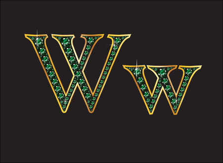 Ww in stunning emerald precious round jewels set into a 2-level gold grxadient channel setting, isolated on black.