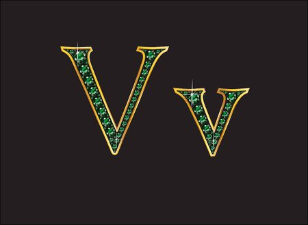 channel: Vv in stunning emerald precious round jewels set into a 2-level gold gradient channel setting, isolated on black. Illustration