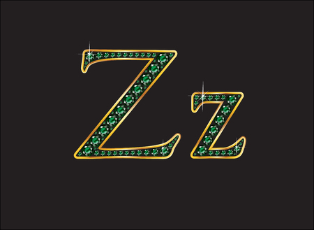 costly: Zz in stunning emerald precious round jewels set into a 2-level gold gradient channel setting, isolated on black. Illustration
