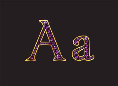 amethyst: Aa in stunning amethyst precious round jewels set into a 2-level gold gradient channel setting, isolated on black. Illustration
