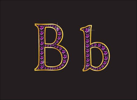 Bb in stunning amethyst precious round jewels set into a 2-level gold gradient channel setting, isolated on black. Illustration