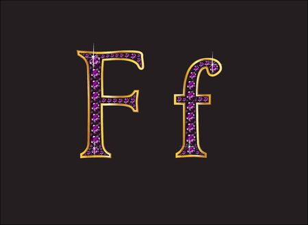 Ff in stunning amethyst precious round jewels set into a 2-level gold gradient channel setting, isolated on black.