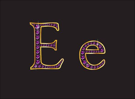 Ee in stunning amethyst precious round jewels set into a 2-level gold gradient channel setting, isolated on black.