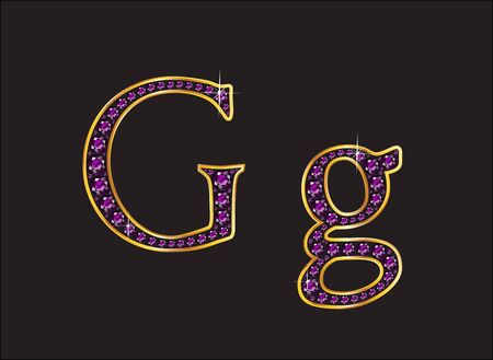 amethyst: Gg in stunning amethyst precious round jewels set into a 2-level gold gradient channel setting, isolated on black.
