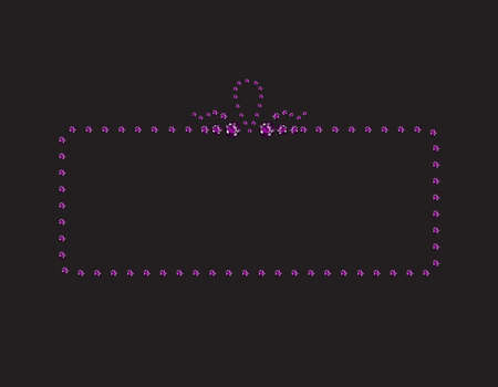 Elegant deco style frame with rounded corners, made from amethyst, isolated on black background. Illustration