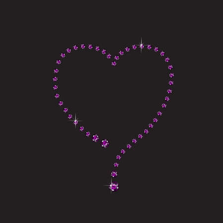 Elegant creative heart style frame, made from amethyst, isolated on black background. Illustration